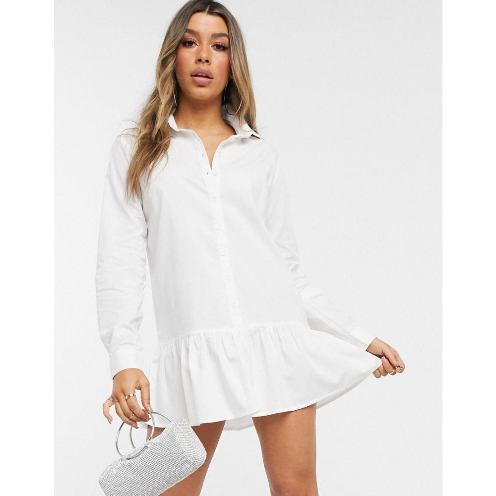 アイソウイットファースト I Saw It First レディース ワンピース シャツワンピース ワンピース・ドレス【frill hem oversized shirt dress】White