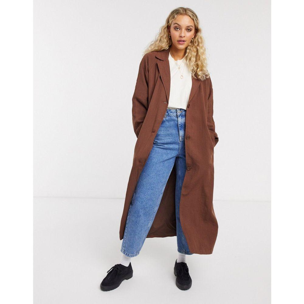 ウィークデイ Weekday レディース トレンチコート アウター【Amaya Trench Coat】Brown dark