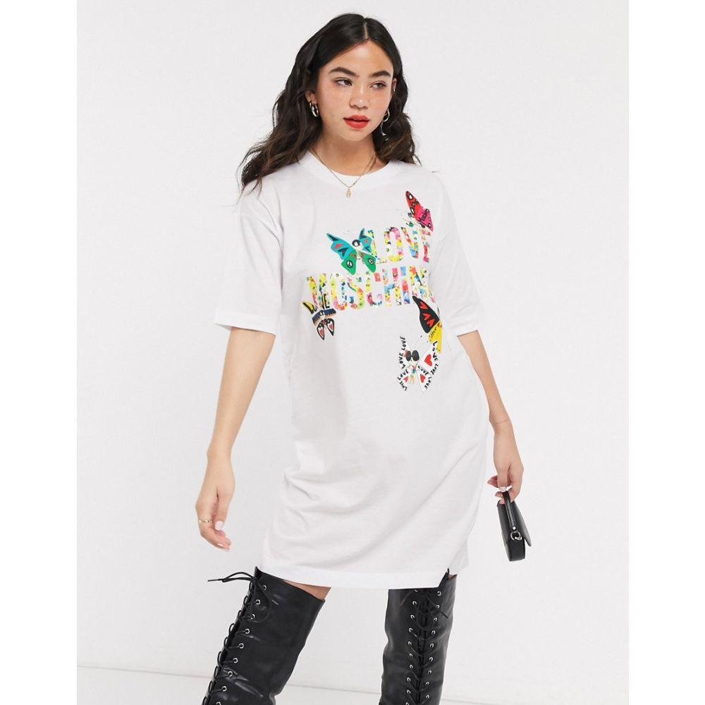 モスキーノ Love Moschino レディース ワンピース Tシャツワンピース ワンピース・ドレス【butterflies print logo t-shirt dress】Optical white a