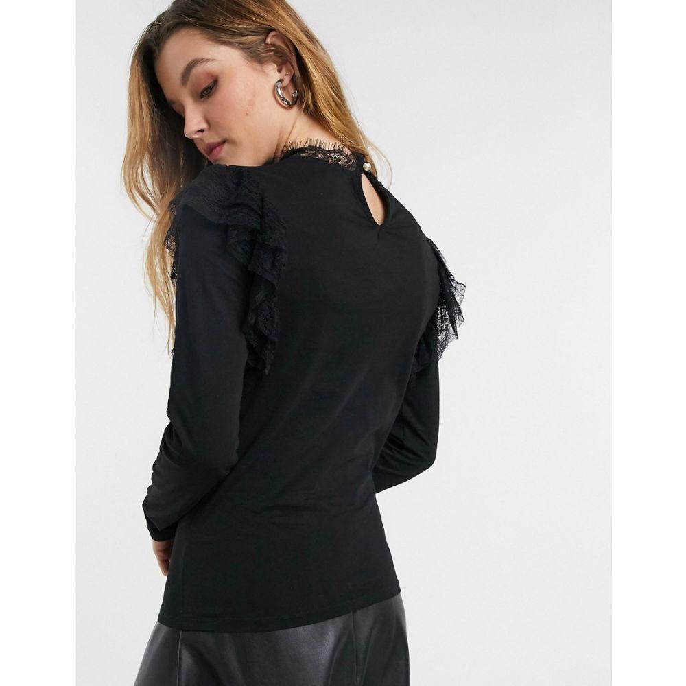 リバーアイランド River Island レディース ブラウス・シャツ トップス lace frill shoulder high neck blouse in black BlackiZPOkXuT