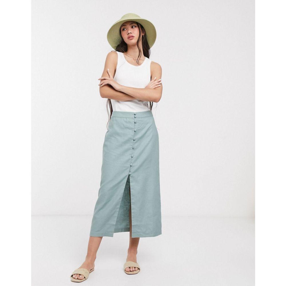 エイソス ASOS DESIGN レディース ひざ丈スカート スカート【splendid linen button through midi skirt】Soft blue