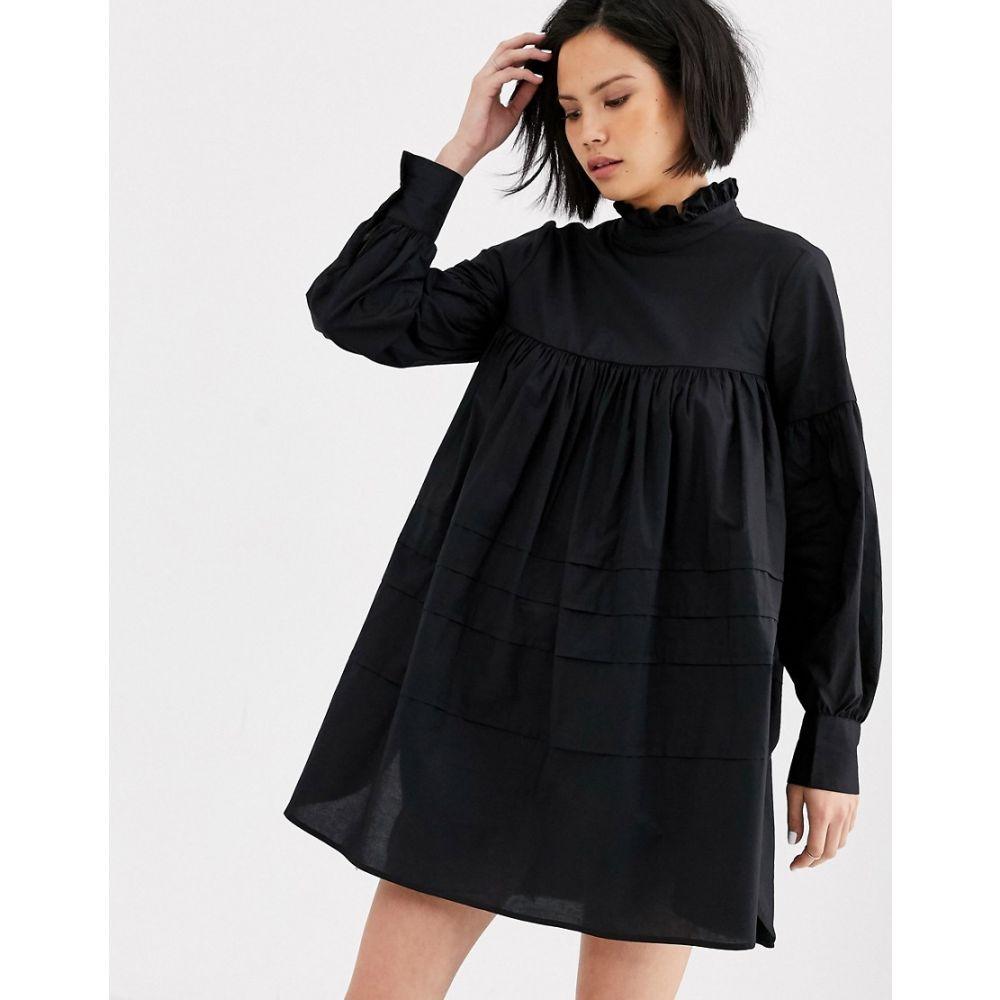 オンリー Only レディース ワンピース ミニ丈 ワンピース・ドレス【cotton smock mini dress with ruffle neck】Black