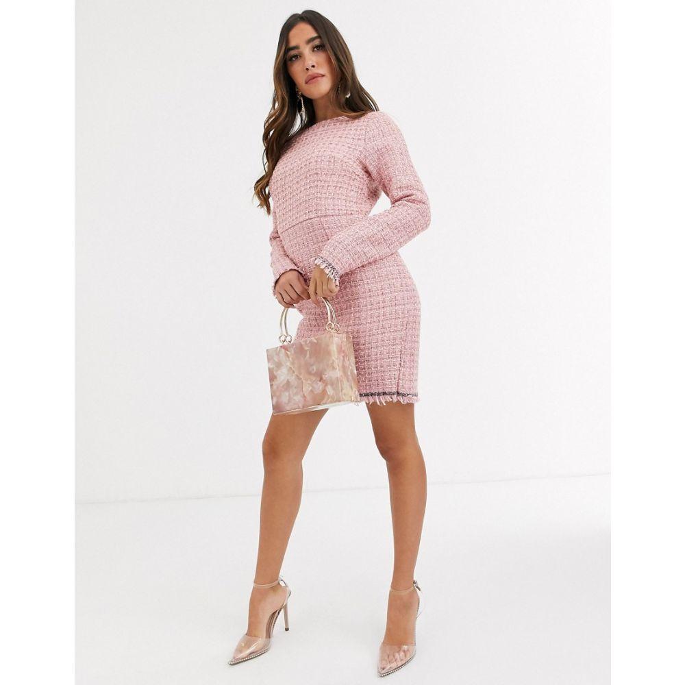 ミスガイデッド Missguided レディース ワンピース シフトドレス ワンピース・ドレス【tweed shift dress in pink】Pink