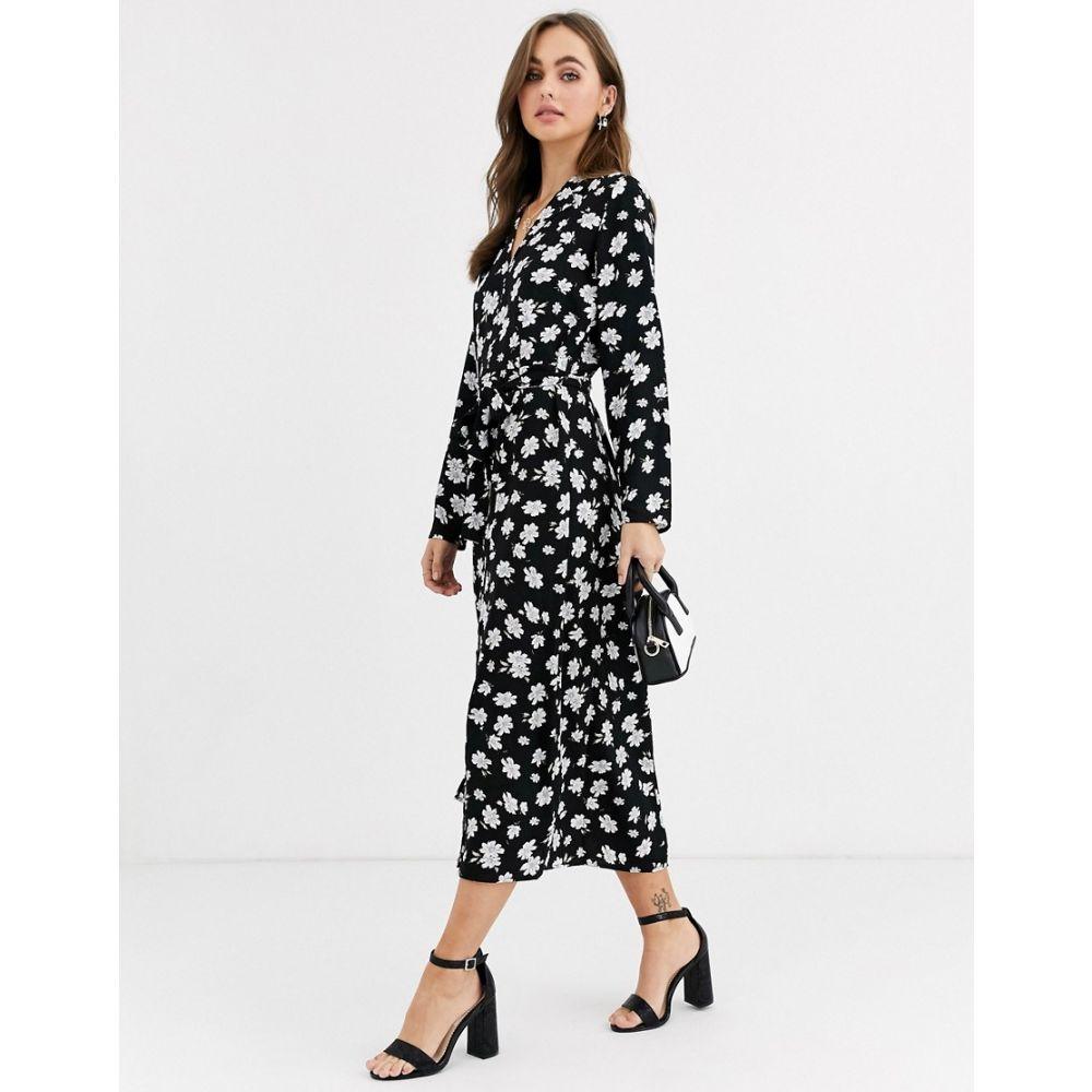 ピンキー Pimkie レディース ワンピース シャツワンピース ワンピース・ドレス【floral print shirt dress in black】Multi