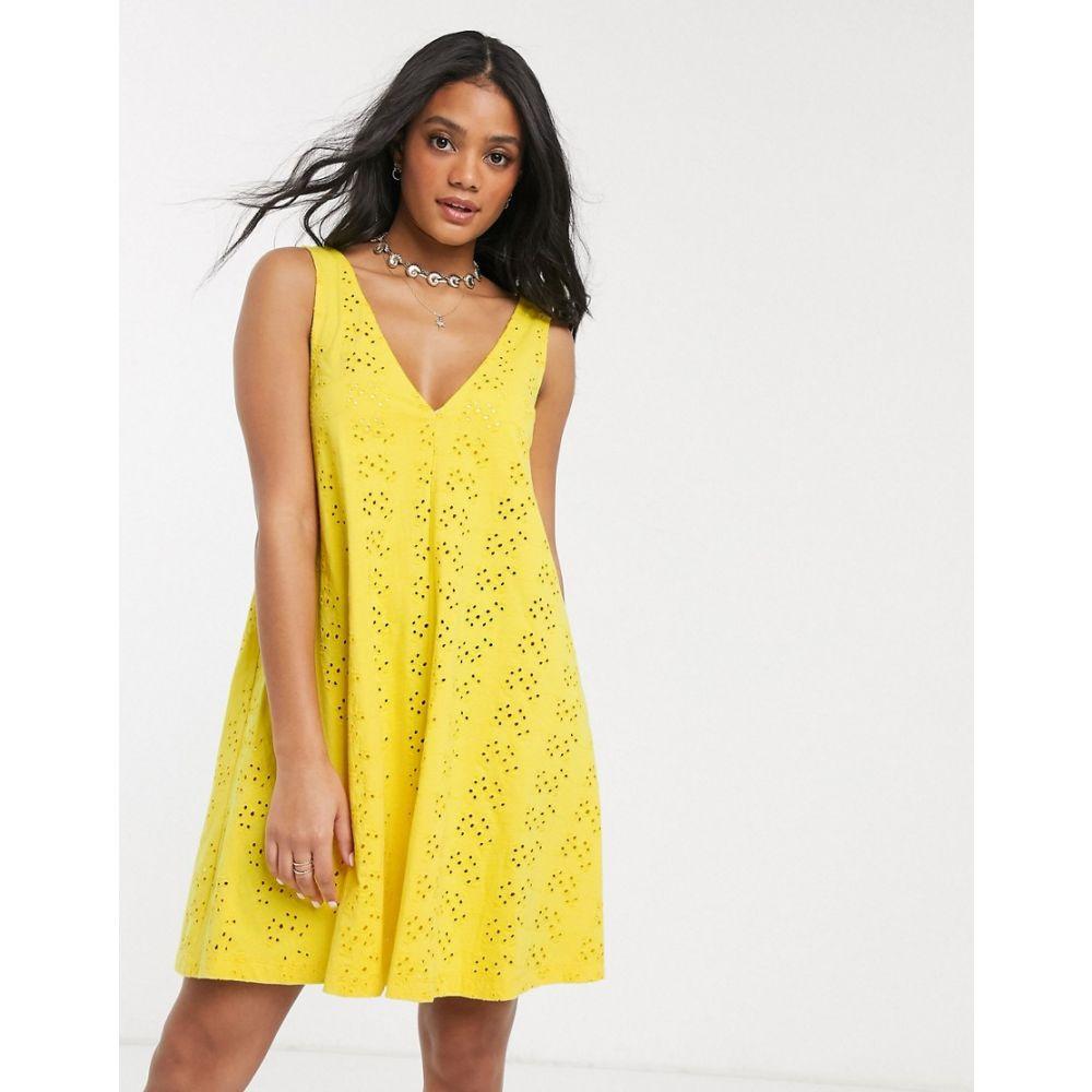 エイソス ASOS DESIGN レディース ワンピース ミニ丈 ワンピース・ドレス【broderie swing mini dress in yellow】Yellow