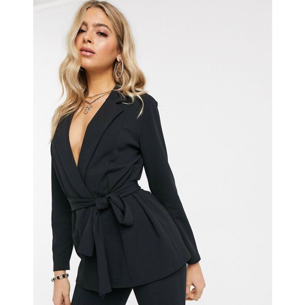 エイソス ASOS DESIGN レディース スーツ・ジャケット アウター【jersey wrap suit blazer in black】Black