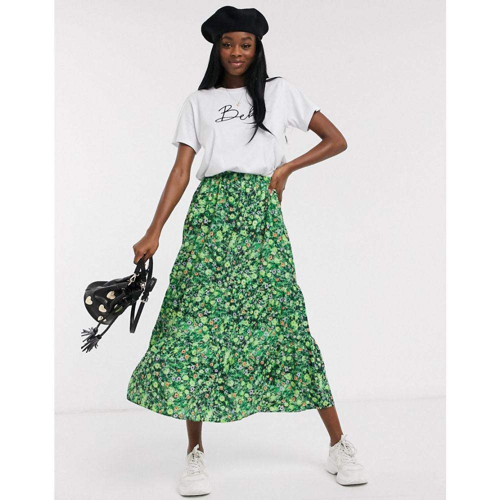 エイソス ASOS DESIGN レディース ロング・マキシ丈スカート ティアードスカート スカート【tiered maxi skirt in green floral print】Green floral
