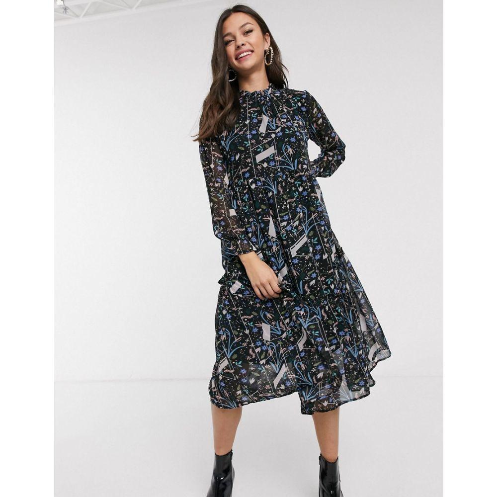 ジェイディーワイ JDY レディース ワンピース ワンピース・ドレス【midi dress in abstract floral print】Multi