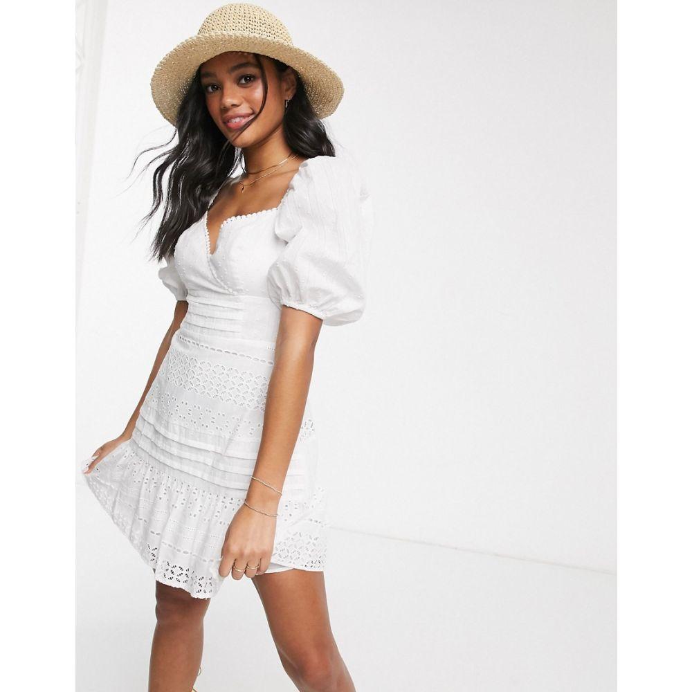 エイソス ASOS DESIGN レディース ワンピース ラップドレス ミニ丈 ワンピース・ドレス【wrap front broderie mini dress with puff sleeves in white】White