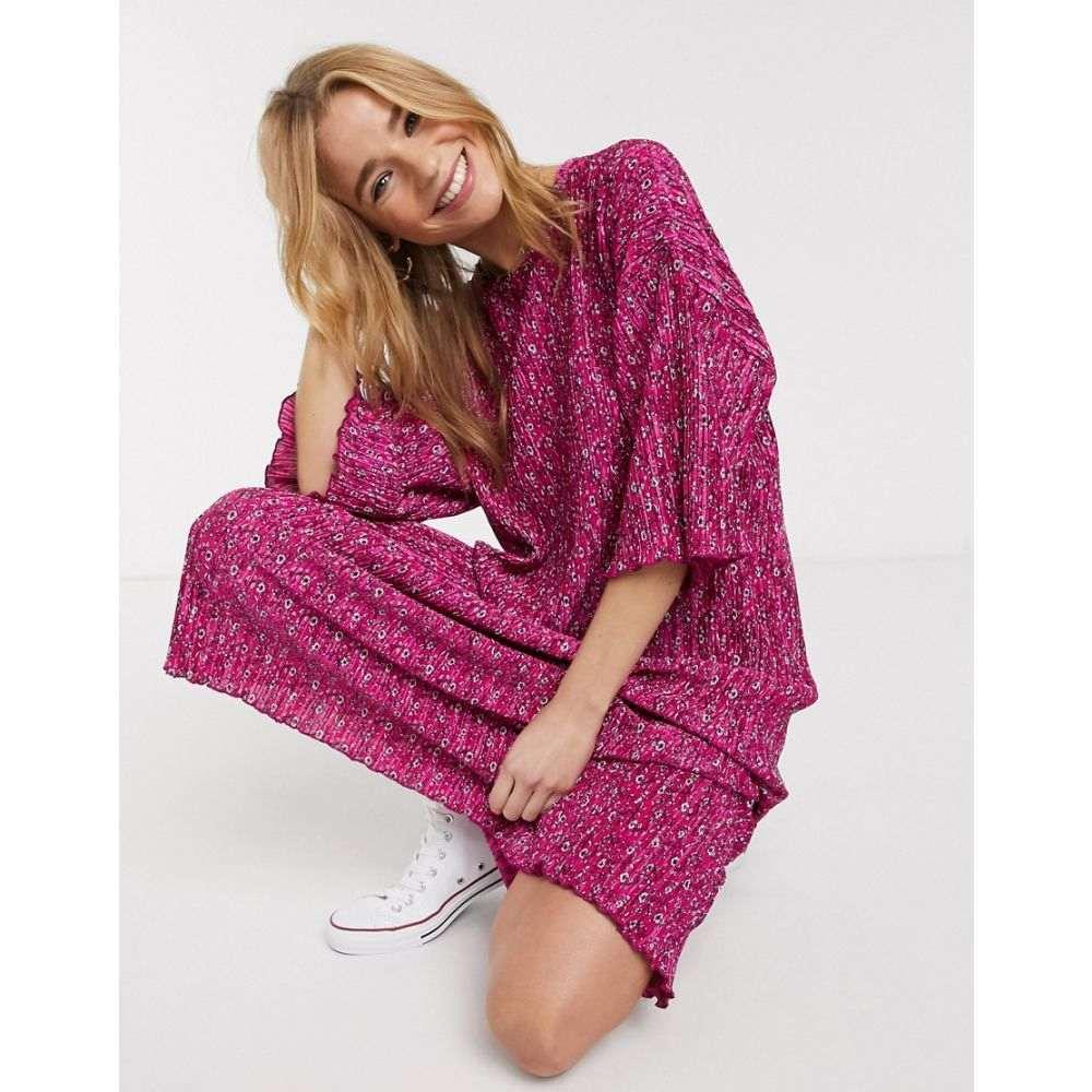 エイソス ASOS DESIGN レディース ワンピース Tシャツワンピース ミドル丈 ワンピース・ドレス【pink ditsy print midi plisse oversized t-shirt dress in pink】Pink ditsy