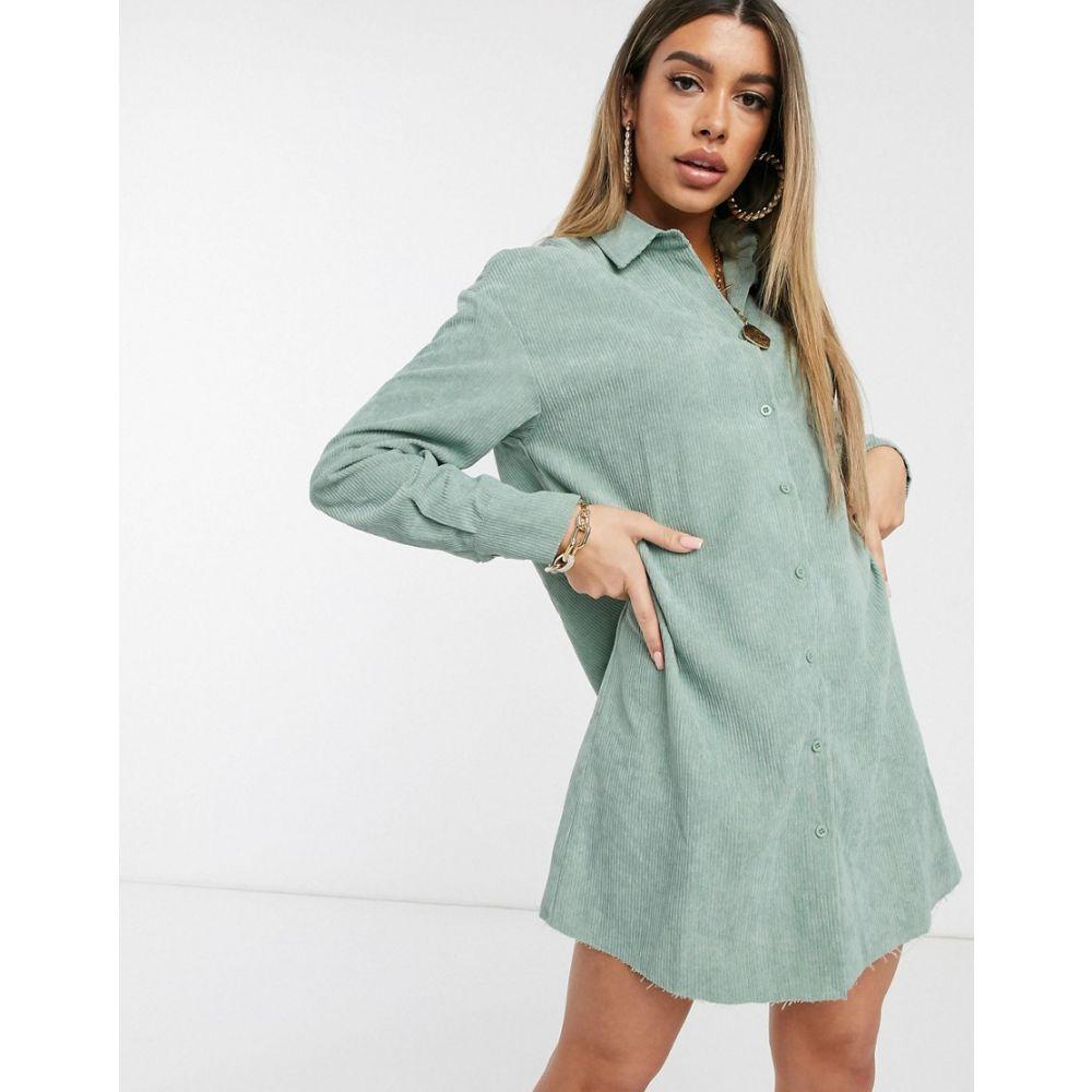 プリティリトルシング PrettyLittleThing レディース ワンピース シャツワンピース ワンピース・ドレス【oversized shirt dress with raw hem in mint】Mint