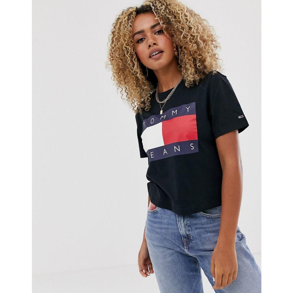 トミー ジーンズ Tommy Jeans レディース Tシャツ トップス【flag t-shirt in black】Tommy black