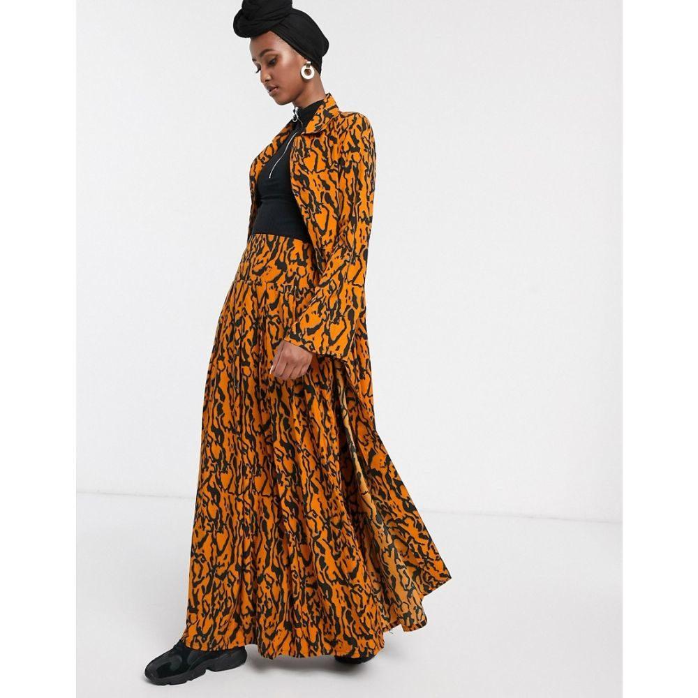 ヴェローナ Verona レディース ロング・マキシ丈スカート フルスカート スカート【full maxi skirt in abstract print】Burnt orange
