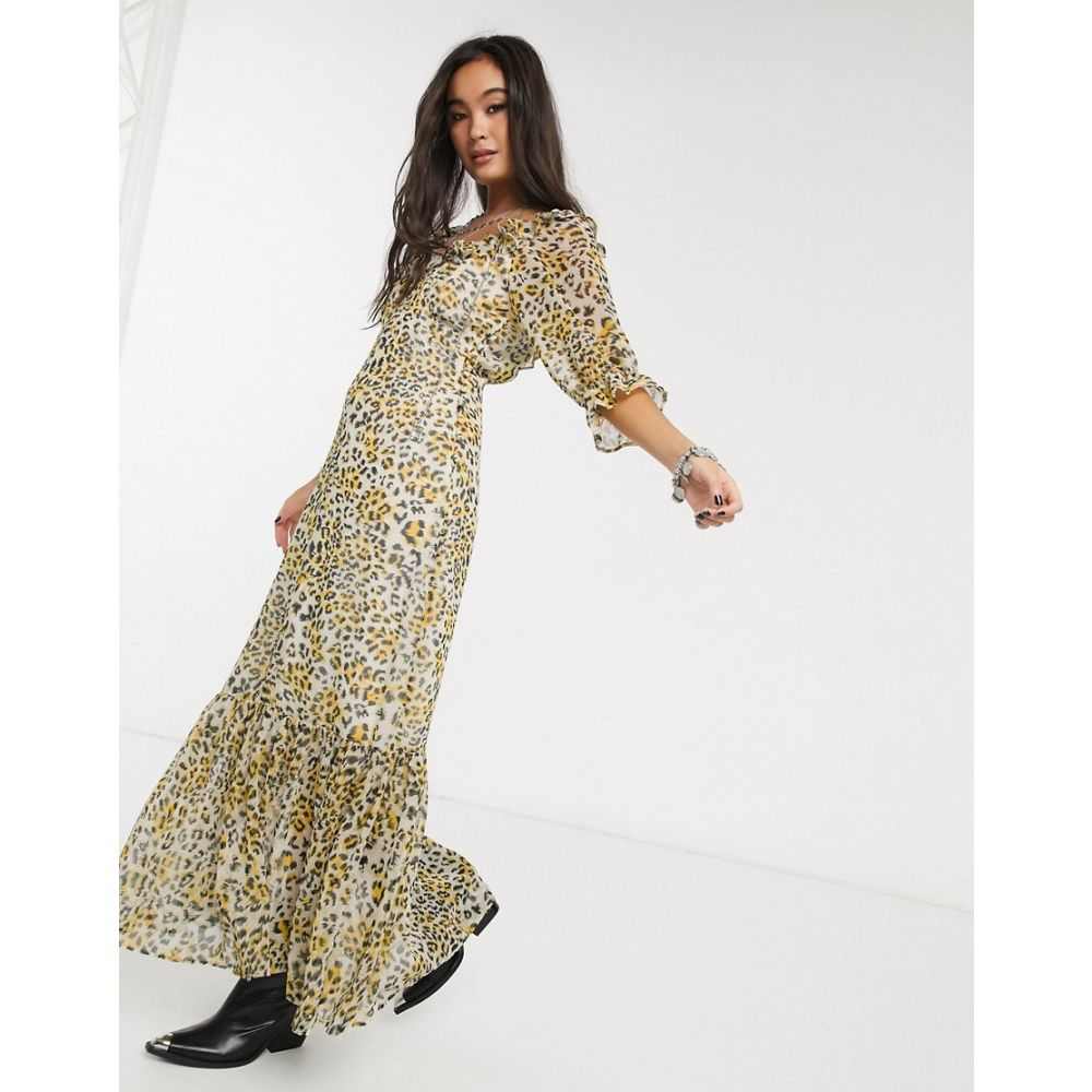 エイソス ASOS DESIGN レディース ワンピース マキシ丈 ワンピース・ドレス【scoop neck maxi dress with pep hem in leopard print】Leopard print