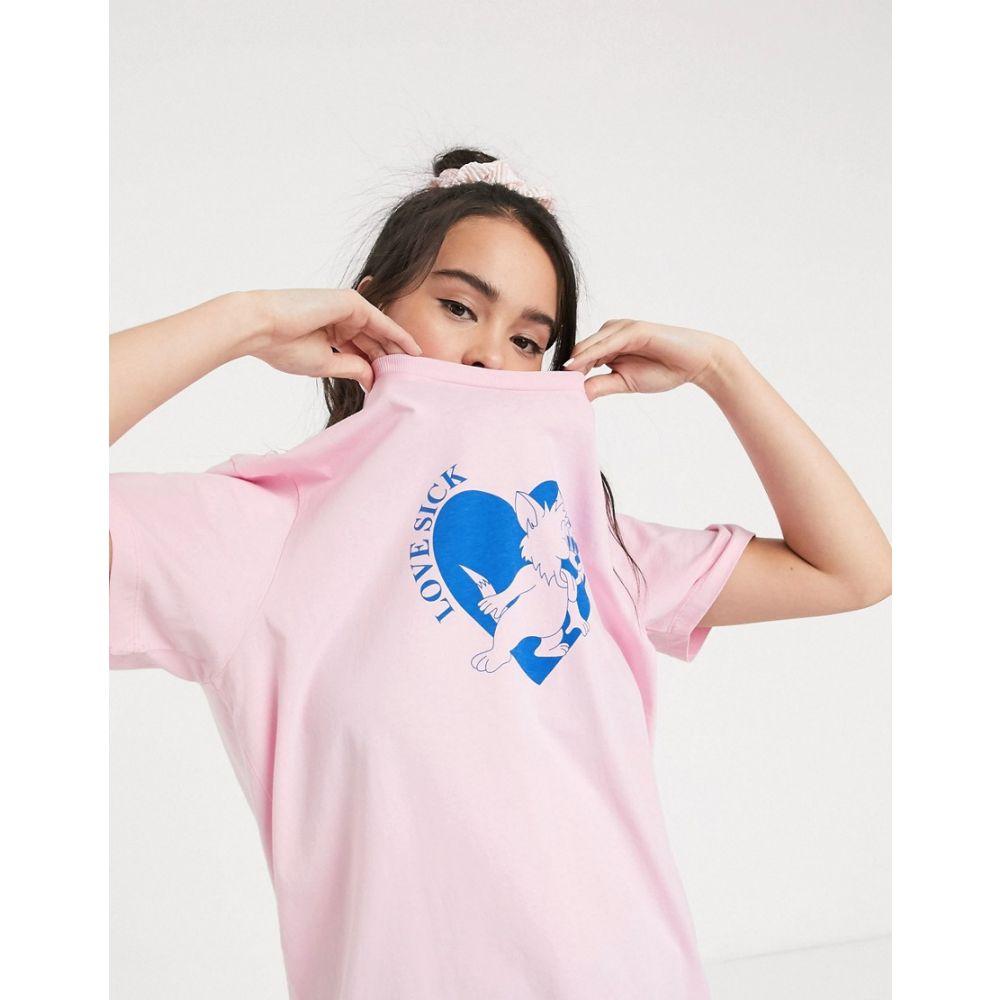 レイジー オーフ Lazy Oaf レディース Tシャツ トップス【oversized t-shirt with love sick graphic】Light pink