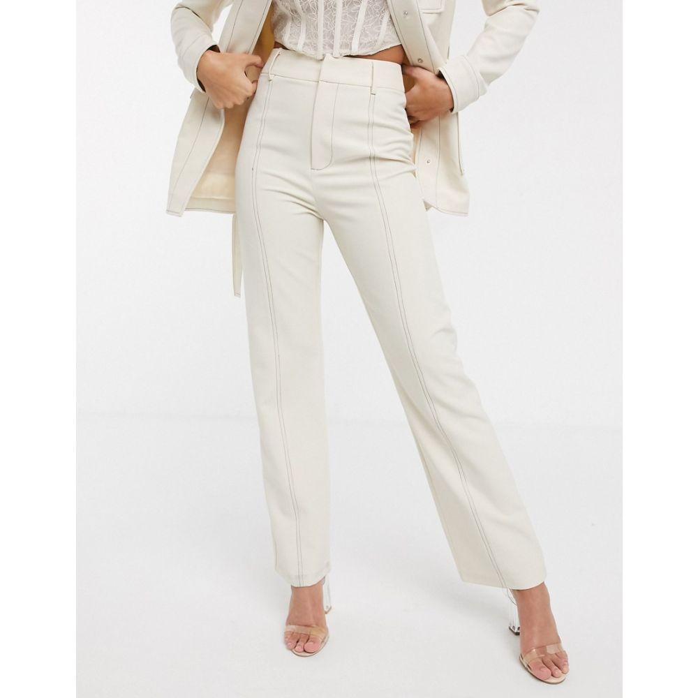 フォース&レックレス 4th + Reckless レディース ボトムス・パンツ 【suit trouser with contrast stiching in cream】White