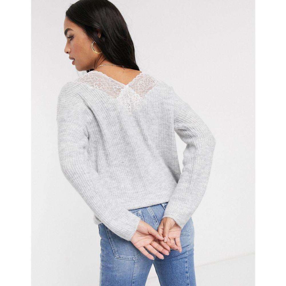 ヴィラ Vila レディース ニット・セーター トップス【oversized jumper with lace back detail】Grey
