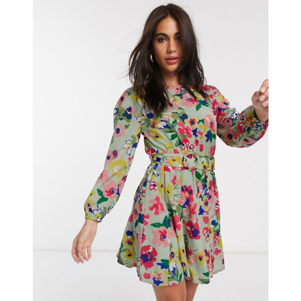 ネオンローズ Neon Rose レディース ワンピース ミニ丈 ワンピース・ドレス【belted mini dress with volume skirt in vintage floral】Sage floral
