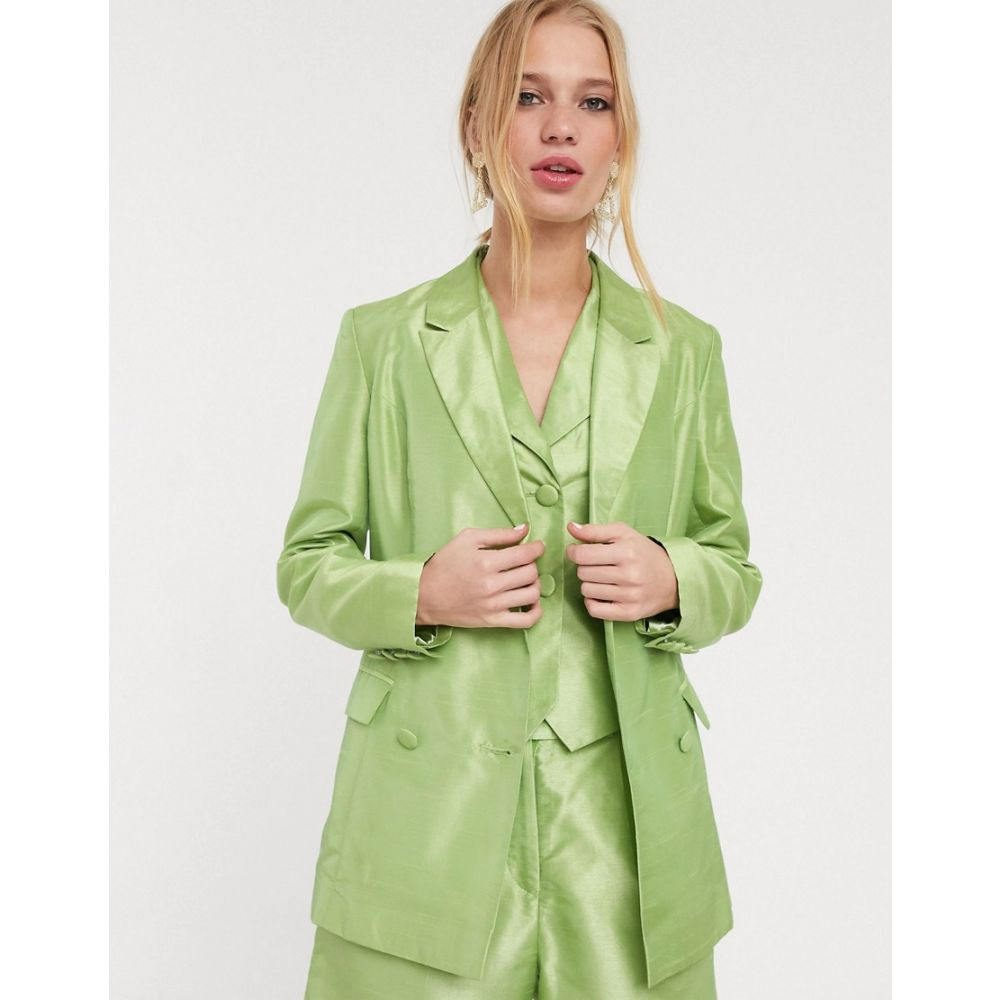 ユニーク21 UNIQUE21 レディース スーツ・ジャケット アウター【UNIQUE 21 structured blazer in shimmer fabric co-ord】Shimmer green