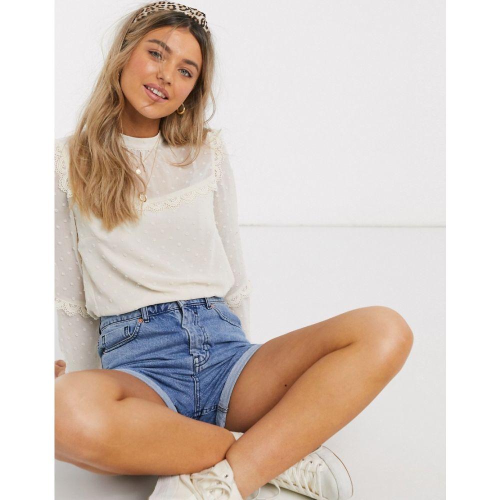 オアシス Oasis レディース ブラウス・シャツ トップス【dobby mesh blouse with lace trim in white】Off white