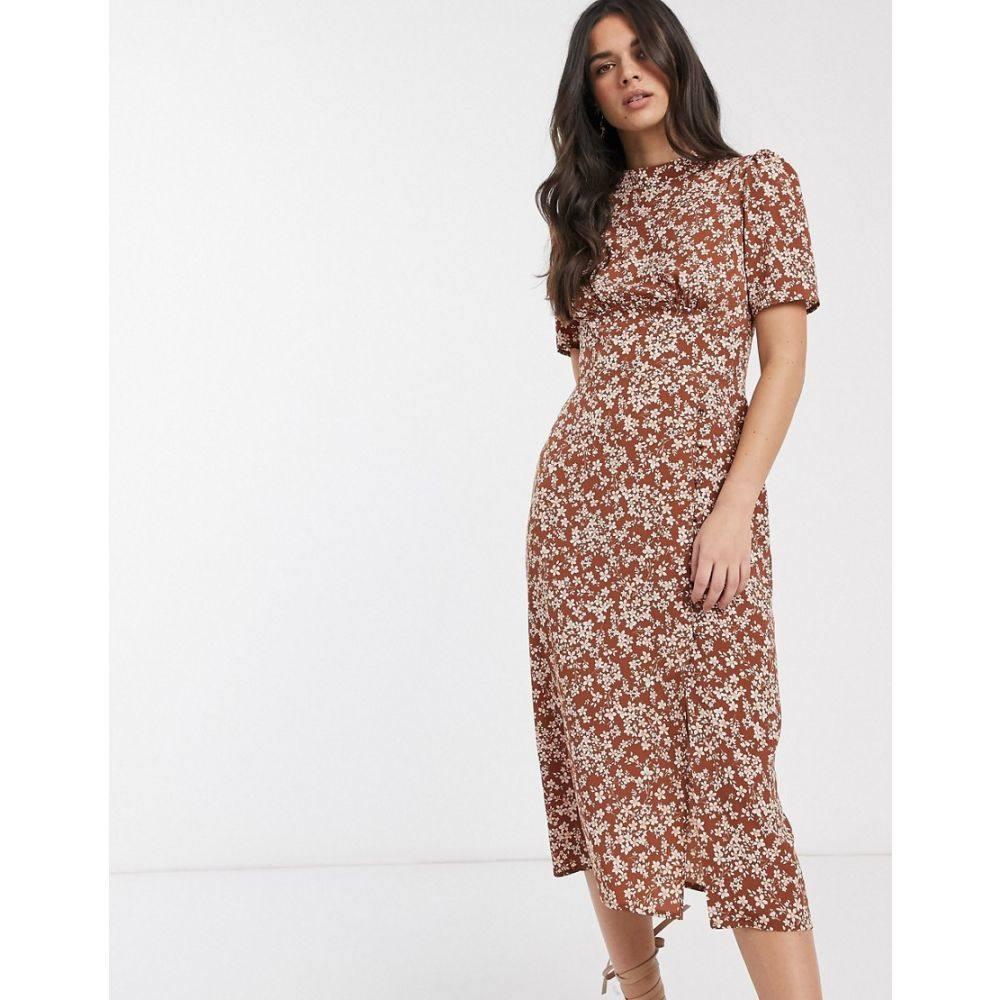 エイソス ASOS DESIGN レディース ワンピース ワンピース・ドレス【midi tea dress with buttons in floral print】Brown based floral