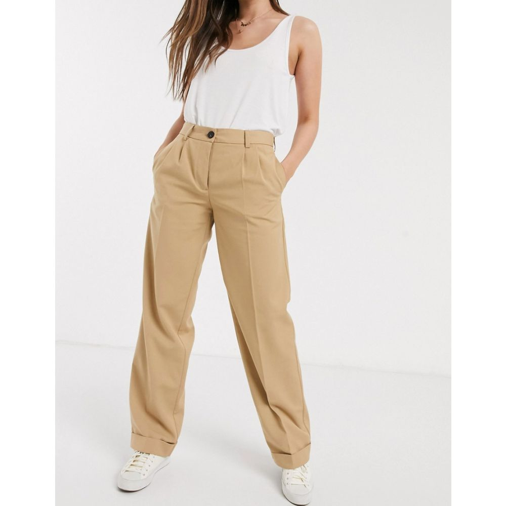 ピーシーズ Pieces レディース ボトムス・パンツ 【roll hem straight leg tailored trousers in tan】Tan