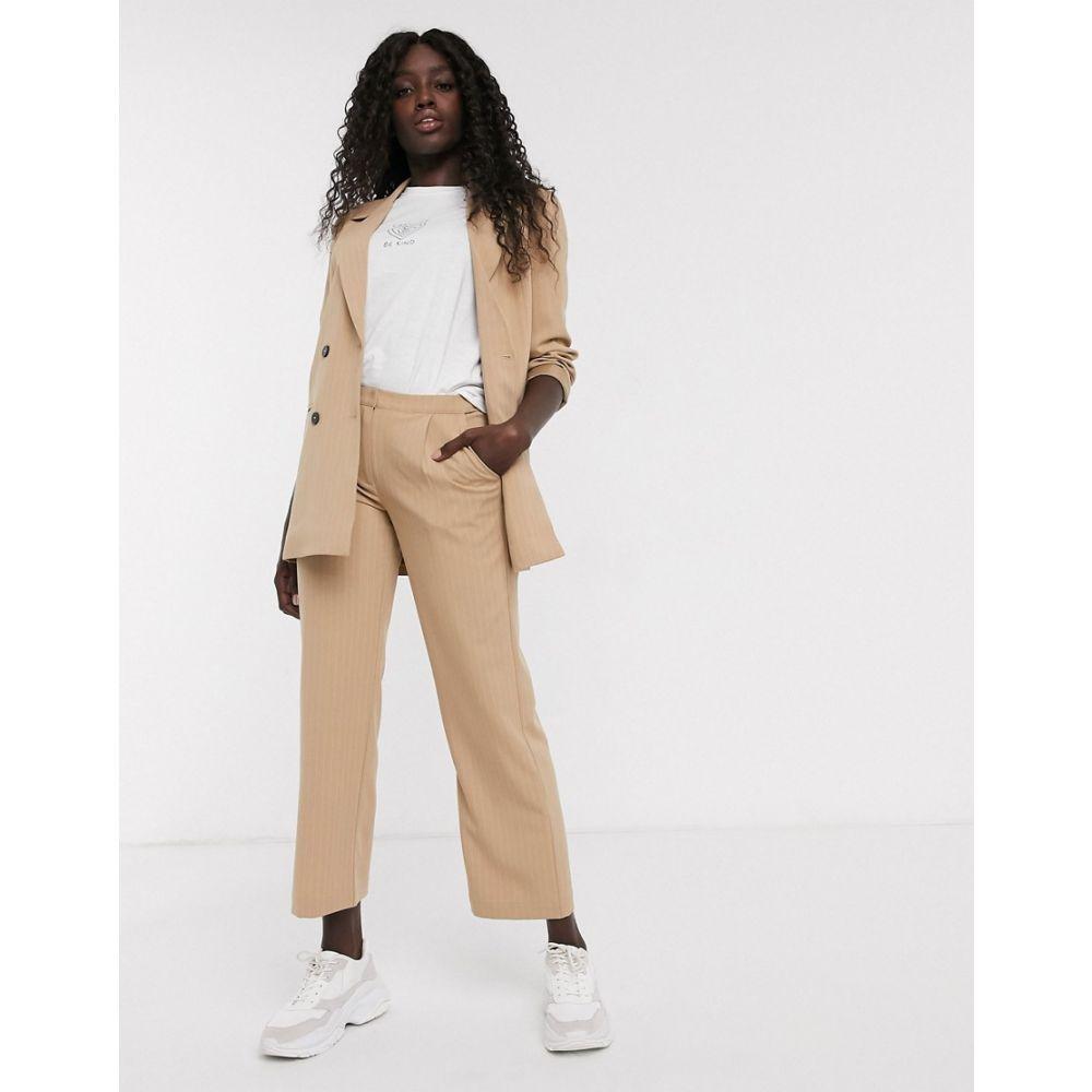 ピーシーズ Pieces レディース ボトムス・パンツ ワイドパンツ【pinstripe wide leg tailored trousers】Tannin