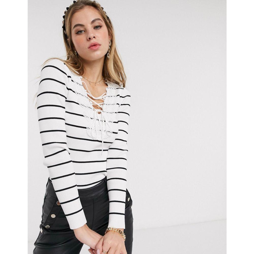 モーガン レーン Morgan レディース Tシャツ レースアップ トップス【lace up breton stripe top in multi】Multi