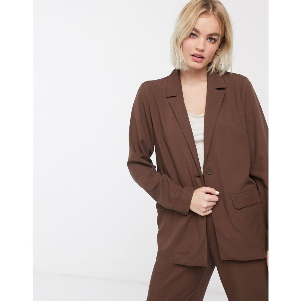 モンキー Monki レディース スーツ・ジャケット アウター【utility blazer in chocolate brown】Brown