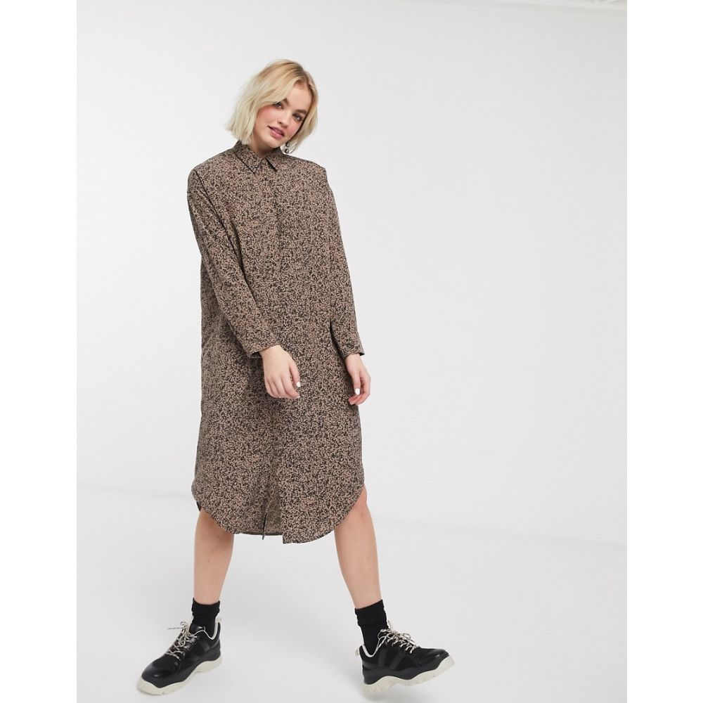 モンキー Monki レディース ワンピース シャツワンピース ワンピース・ドレス【speckled print shirt dress in brown】Brown