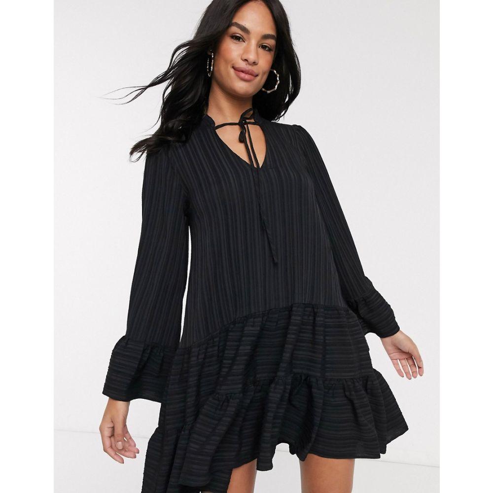 リバーアイランド River Island レディース ワンピース ワンピース・ドレス【crinkle smock dress in black】Black