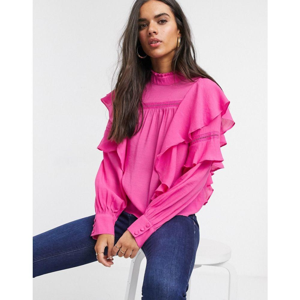 ヴェロモーダ Vero Moda レディース ブラウス・シャツ トップス【blouse with high neck and ruffle trim in pink】Pink