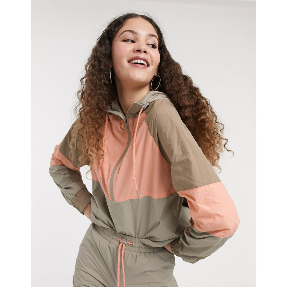 モンキー Monki レディース ジャケット フード アウター【hooded jacket with contrast piping in colour block】Beige/coral