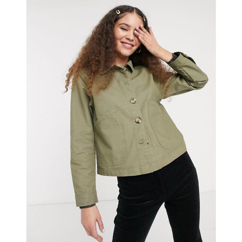 モンキー Monki レディース ジャケット アウター【cotton utilty cropped jacket in khaki】Green