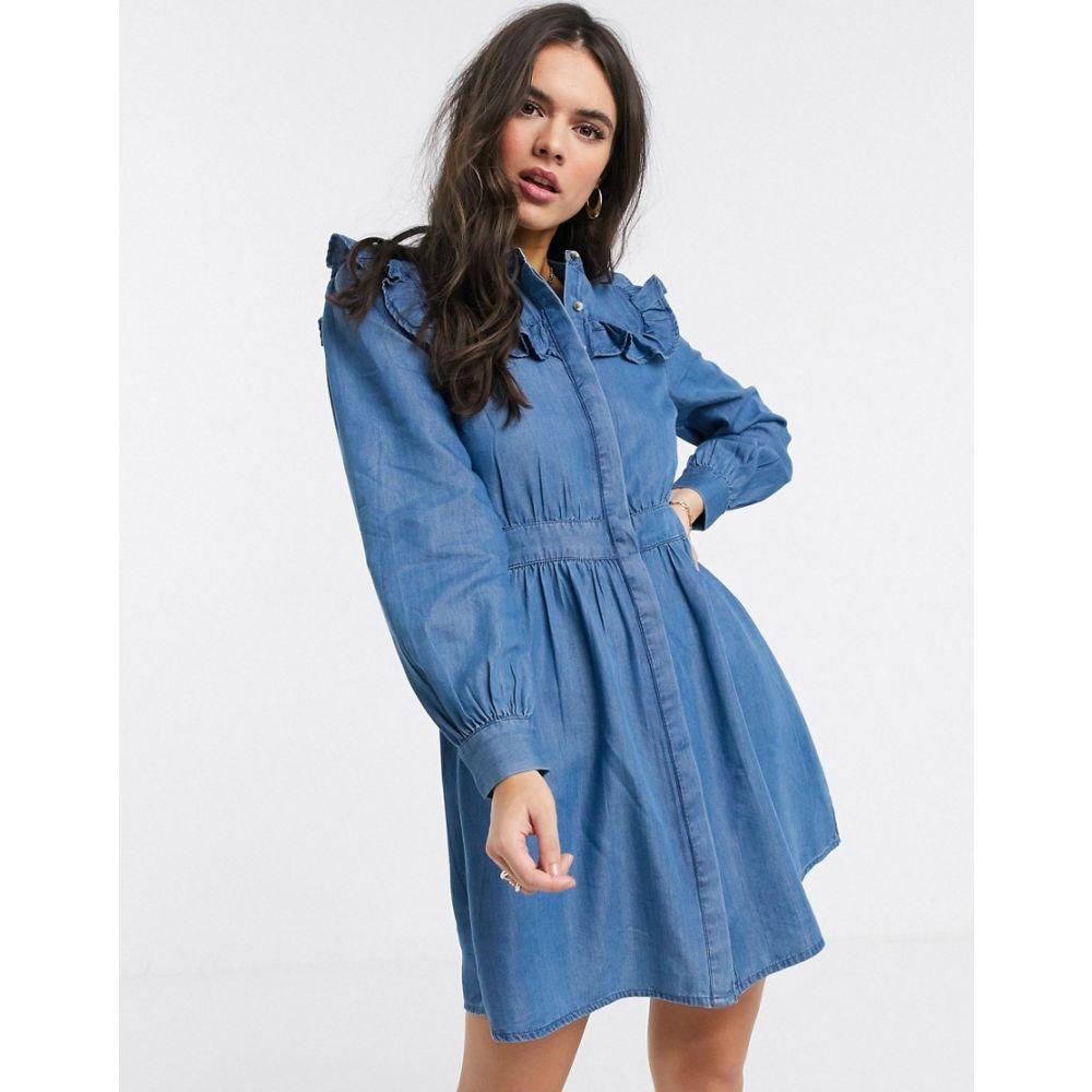 ウェアハウス Warehouse レディース ワンピース ワンピース・ドレス【ruffle bib dress blue】Blue