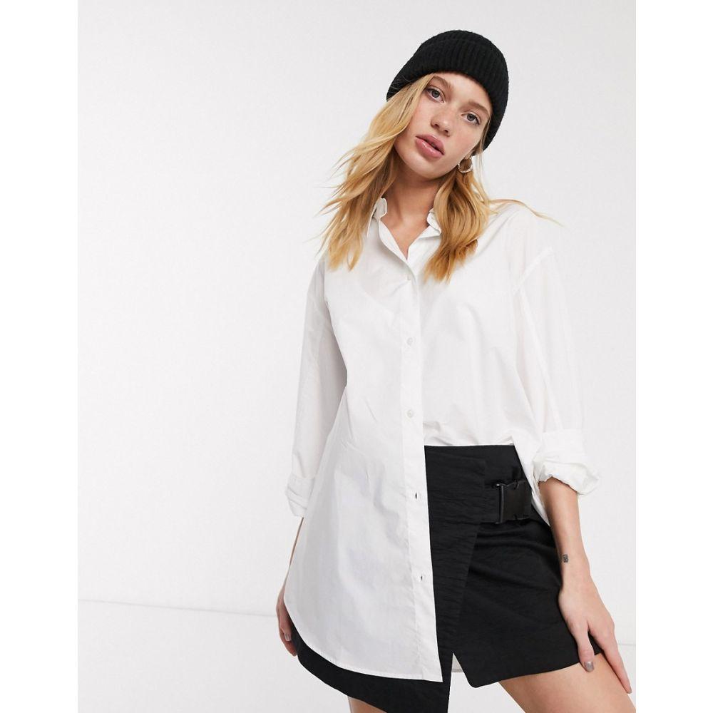 ウィークデイ Weekday レディース ブラウス・シャツ トップス【button through poplin shirt in white】White
