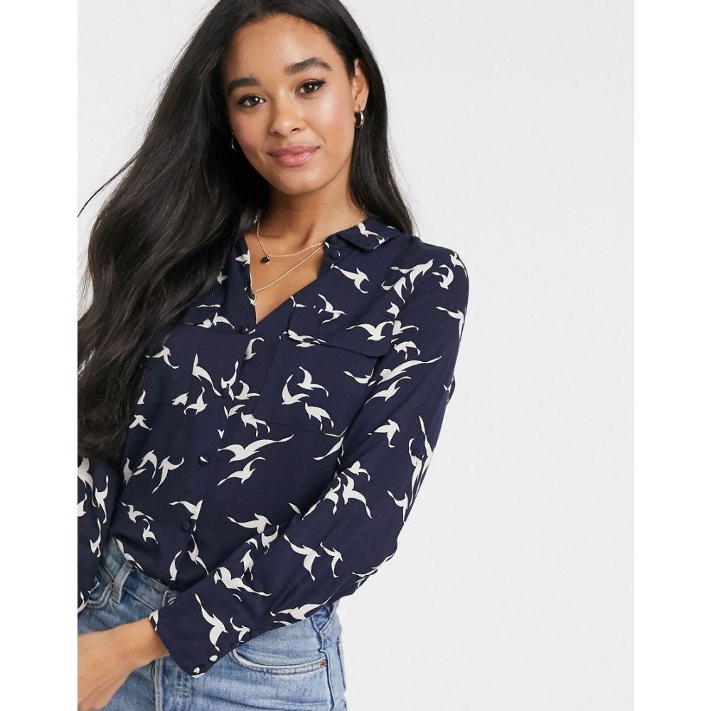 オアシス Oasis レディース ブラウス・シャツ トップス【bird print shirt in navy】Multi blue
