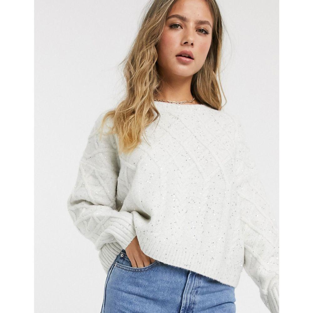 ミス セルフリッジ Miss Selfridge レディース ニット・セーター トップス【sparkle cable knit jumper in cream】Cream