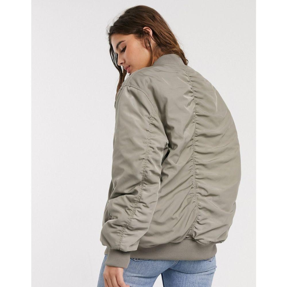 エイソス ASOS DESIGN レディース ブルゾン ミリタリージャケット アウター【oversized twill bomber jacket in sage】Silver