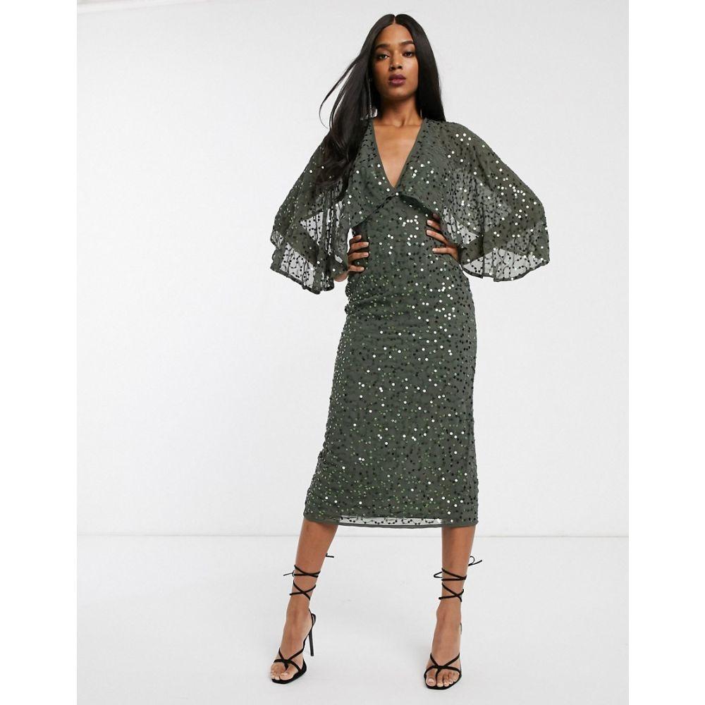 エイソス ASOS DESIGN レディース ワンピース ミドル丈 ワンピース・ドレス【midi dress with cape kimono sleeve in scatter sequin】Khaki