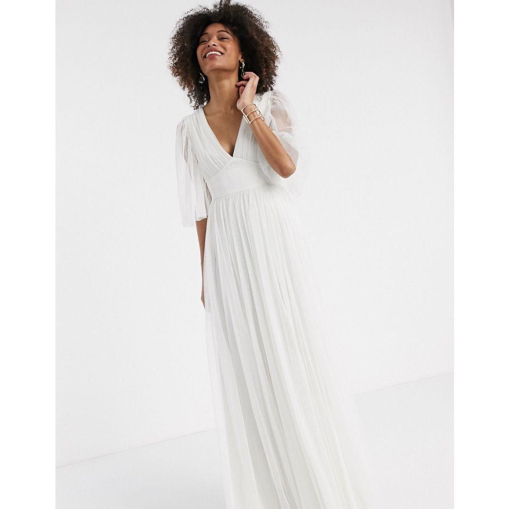 アナヤ Anaya レディース ワンピース マキシ丈 ワンピース・ドレス【With Love tulle plunge front tulle maxi dress with cape detail in white】White
