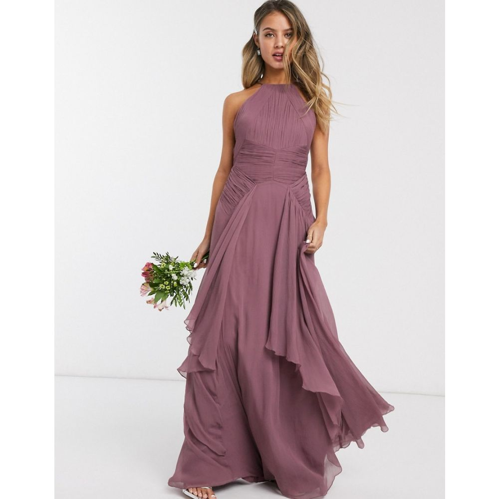 エイソス ASOS DESIGN レディース ワンピース マキシ丈 ワンピース・ドレス【Bridesmaid pinny maxi dress with ruched bodice and layered skirt detail】Mauve