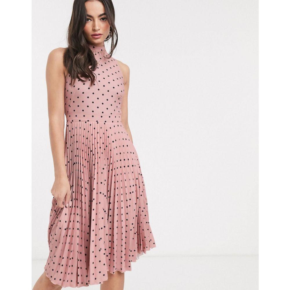 クローゼットロンドン Closet London レディース ワンピース ミドル丈 ワンピース・ドレス【midi dress in pleated polka dot】Multi