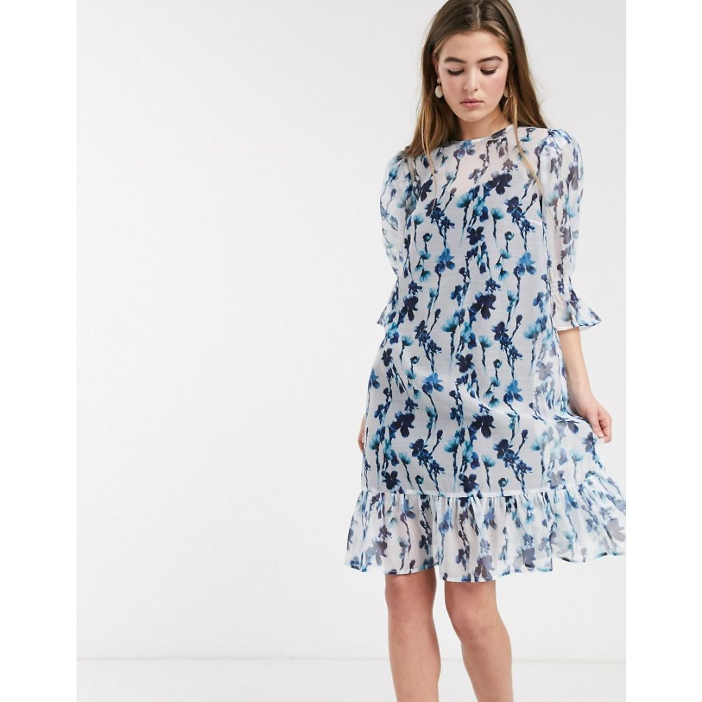 ロストインク Lost Ink レディース ワンピース ワンピース・ドレス【midi smock dress with volume sleeves and peplum hem in smudge floral print】Light blue floral