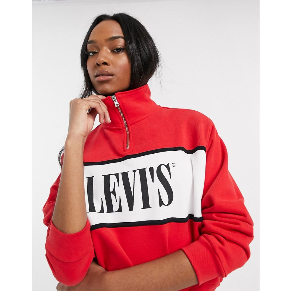 リーバイス Levi's レディース スウェット・トレーナー トップス【half zip logo sweatshirt】Brilliant red