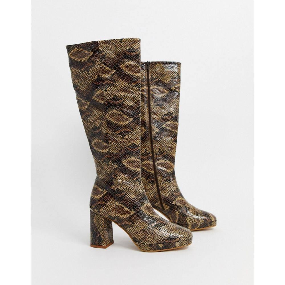 トップショップ Topshop レディース ブーツ シューズ・靴【leather heeled knee high boots in snake print】Snake