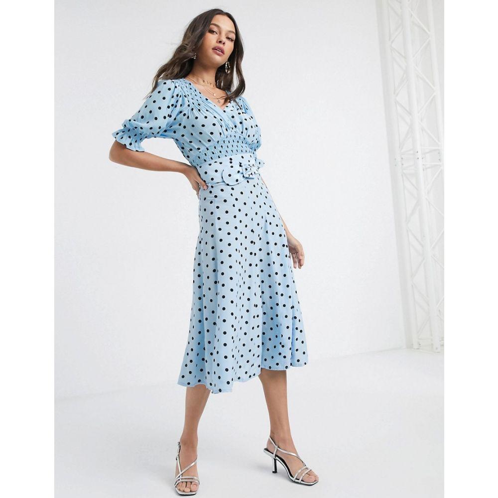 フェイスフルザブランド Faithfull the Brand レディース ひざ丈スカート スカート【Faithfull luda polko dot midi skirt in blue】Blue