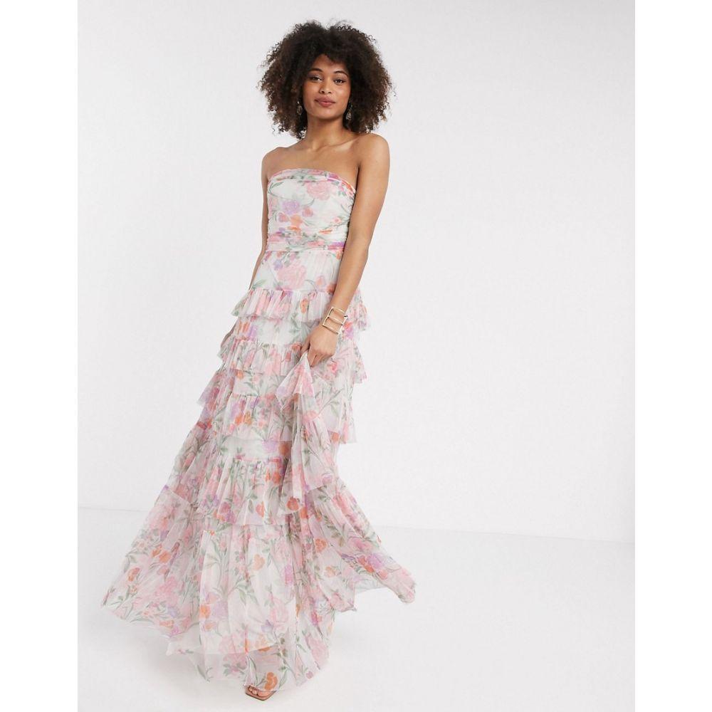 アナヤ Anaya レディース ワンピース ティアードドレス ワンピース・ドレス【With Love tulle bandeau tiered maxi dress in pink floral print】Pink multi