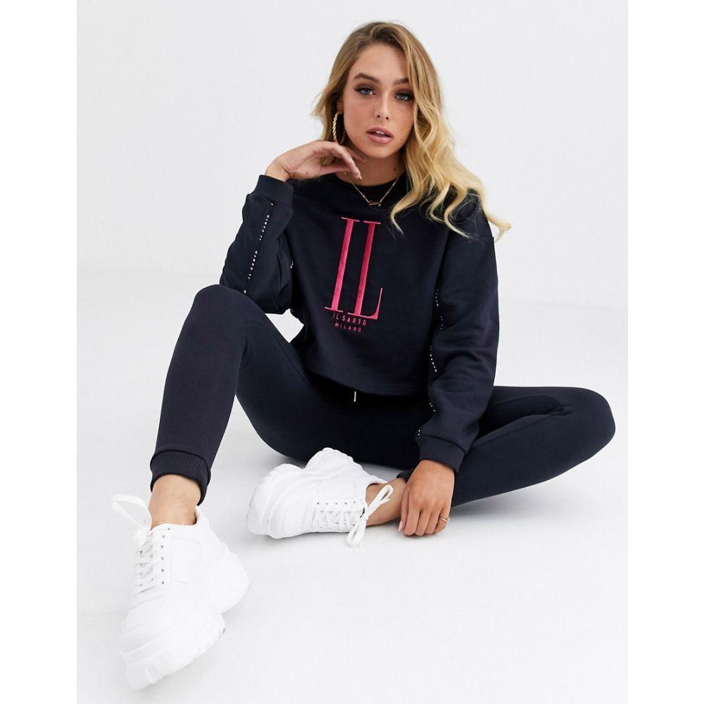 イルサルト Il Sarto レディース ニット・セーター トップス【cropped logo sweater】Navy
