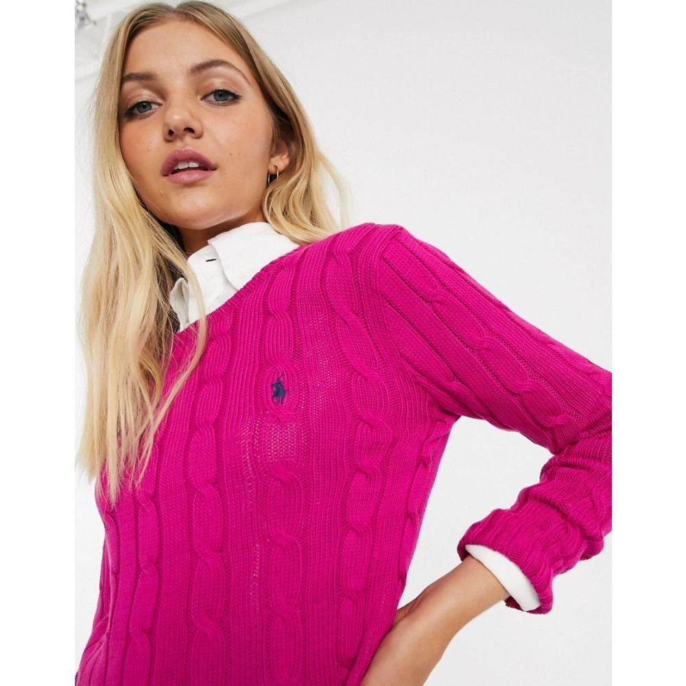 ラルフ ローレン Polo Ralph Lauren レディース ニット・セーター トップス【cotton cable knit jumper】Accent pink